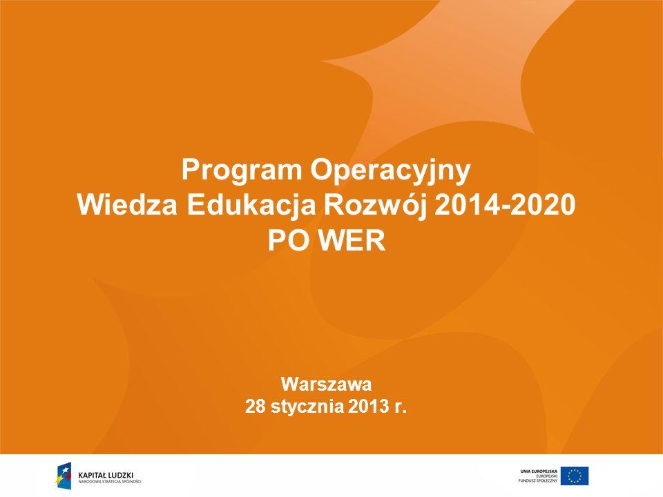 Program Operacyjny Wiedza Edukacja Rozwój 2014-2020 PO WER Warszawa 28 stycznia 2013 r.