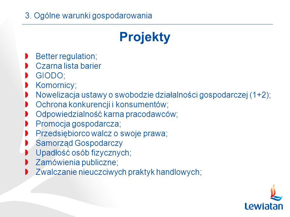 Projekty Better regulation; Czarna lista barier GIODO; Komornicy; Nowelizacja ustawy o swobodzie działalności gospodarczej (1+2); Ochrona konkurencji i konsumentów; Odpowiedzialność karna pracodawców; Promocja gospodarcza; Przedsiębiorco walcz o swoje prawa; Samorząd Gospodarczy Upadłość osób fizycznych; Zamówienia publiczne; Zwalczanie nieuczciwych praktyk handlowych; 3.
