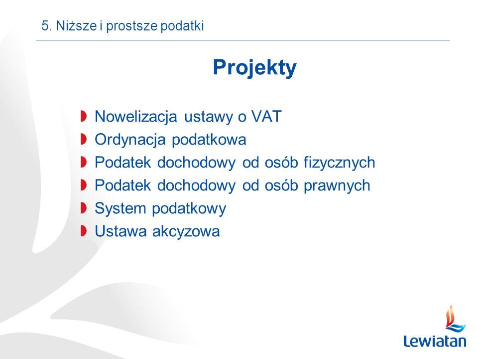 Projekty Nowelizacja ustawy o VAT Ordynacja podatkowa Podatek dochodowy od osób fizycznych Podatek dochodowy od osób prawnych System podatkowy Ustawa akcyzowa 5.