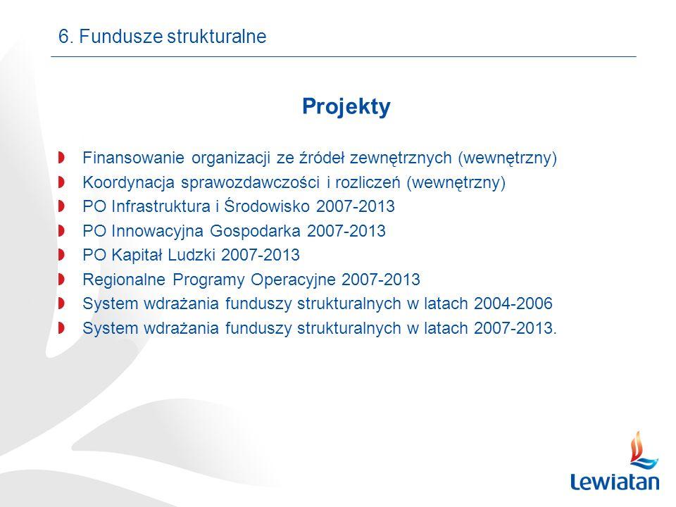 6. Fundusze strukturalne Projekty Finansowanie organizacji ze źródeł zewnętrznych (wewnętrzny) Koordynacja sprawozdawczości i rozliczeń (wewnętrzny) P
