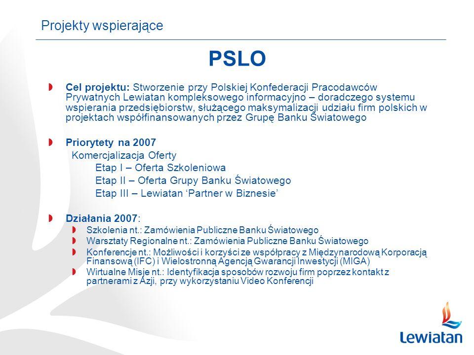 Cel projektu: Stworzenie przy Polskiej Konfederacji Pracodawców Prywatnych Lewiatan kompleksowego informacyjno – doradczego systemu wspierania przedsiębiorstw, służącego maksymalizacji udziału firm polskich w projektach współfinansowanych przez Grupę Banku Światowego Priorytety na 2007 Komercjalizacja Oferty Etap I – Oferta Szkoleniowa Etap II – Oferta Grupy Banku Światowego Etap III – Lewiatan Partner w Biznesie Działania 2007: Szkolenia nt.: Zamówienia Publiczne Banku Światowego Warsztaty Regionalne nt.: Zamówienia Publiczne Banku Światowego Konferencje nt.: Możliwości i korzyści ze współpracy z Międzynarodową Korporacją Finansową (IFC) i Wielostronną Agencją Gwarancji Inwestycji (MIGA) Wirtualne Misje nt.: Identyfikacja sposobów rozwoju firm poprzez kontakt z partnerami z Azji, przy wykorzystaniu Video Konferencji Projekty wspierające PSLO
