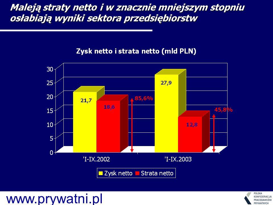www.prywatni.pl 85,6% 45,8% Maleją straty netto i w znacznie mniejszym stopniu osłabiają wyniki sektora przedsiębiorstw