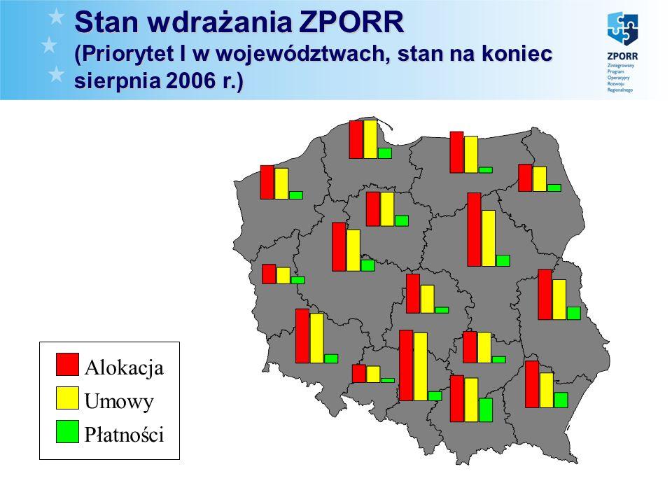Stan wdrażania ZPORR (Priorytet I w województwach, stan na koniec sierpnia 2006 r.) Umowy Płatności Alokacja