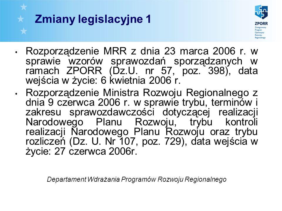 Rozporządzenie MRR z dnia 23 marca 2006 r. w sprawie wzorów sprawozdań sporządzanych w ramach ZPORR (Dz.U. nr 57, poz. 398), data wejścia w życie: 6 k
