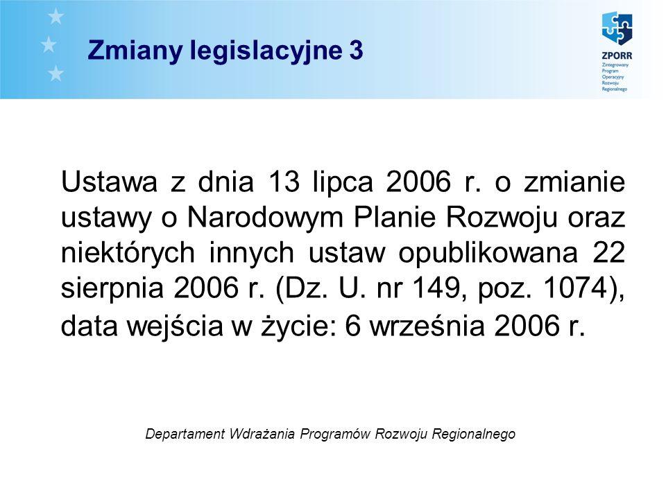 Zmiany legislacyjne 3 Ustawa z dnia 13 lipca 2006 r. o zmianie ustawy o Narodowym Planie Rozwoju oraz niektórych innych ustaw opublikowana 22 sierpnia