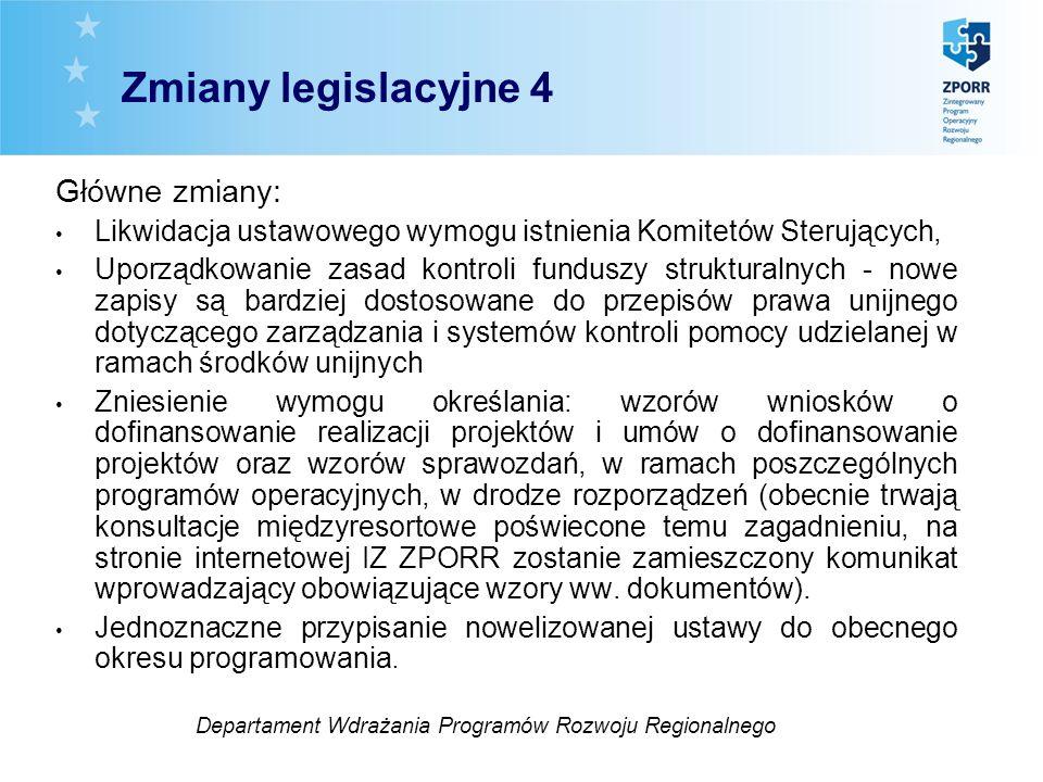 Główne zmiany: Likwidacja ustawowego wymogu istnienia Komitetów Sterujących, Uporządkowanie zasad kontroli funduszy strukturalnych - nowe zapisy są ba