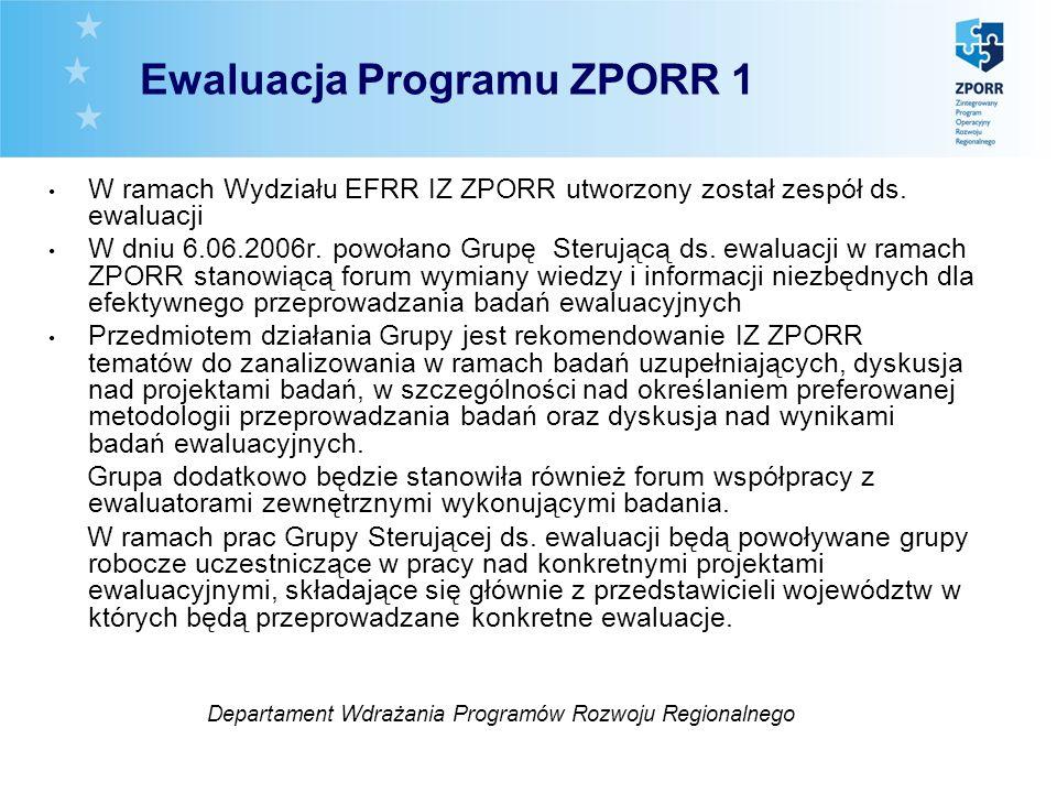 W ramach Wydziału EFRR IZ ZPORR utworzony został zespół ds. ewaluacji W dniu 6.06.2006r. powołano Grupę Sterującą ds. ewaluacji w ramach ZPORR stanowi