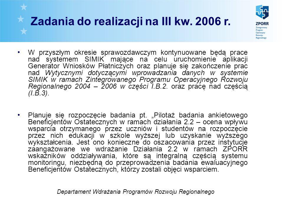 W przyszłym okresie sprawozdawczym kontynuowane będą prace nad systemem SIMIK mające na celu uruchomienie aplikacji Generator Wniosków Płatniczych oraz planuje się zakończenie prac nad Wytycznymi dotyczącymi wprowadzania danych w systemie SIMIK w ramach Zintegrowanego Programu Operacyjnego Rozwoju Regionalnego 2004 – 2006 w części I.B.2.