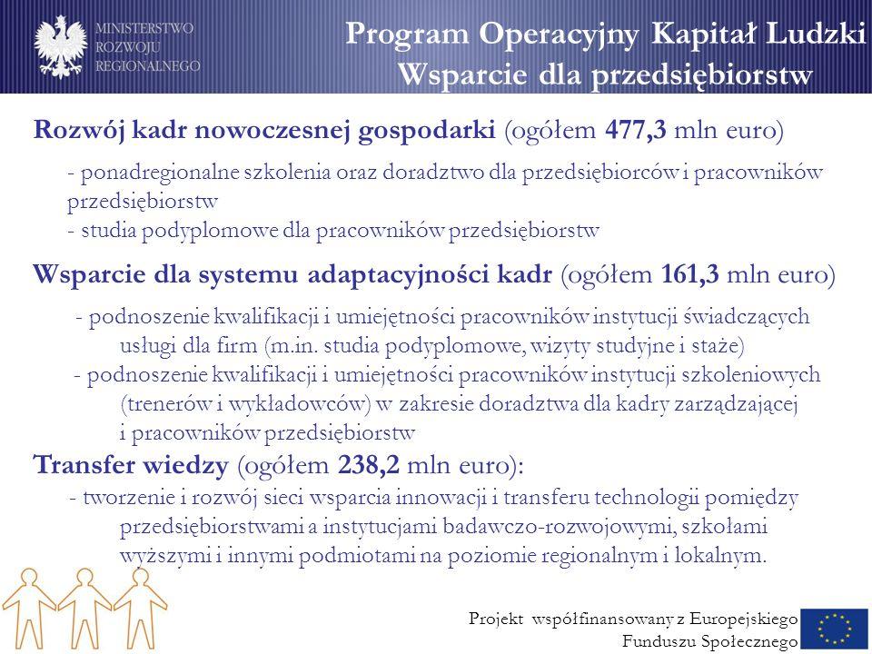Projekt współfinansowany z Europejskiego Funduszu Społecznego Program Operacyjny Kapitał Ludzki Wsparcie dla przedsiębiorstw Rozwój kadr nowoczesnej gospodarki (ogółem 477,3 mln euro) - ponadregionalne szkolenia oraz doradztwo dla przedsiębiorców i pracowników przedsiębiorstw - studia podyplomowe dla pracowników przedsiębiorstw Wsparcie dla systemu adaptacyjności kadr (ogółem 161,3 mln euro) - podnoszenie kwalifikacji i umiejętności pracowników instytucji świadczących usługi dla firm (m.in.