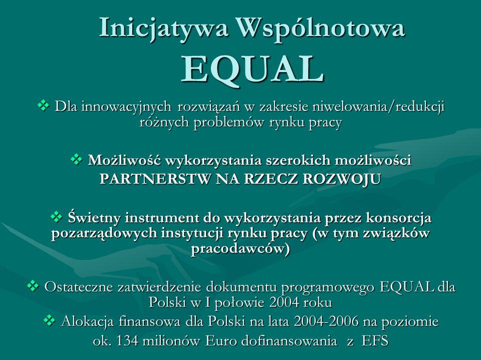 Inicjatywa Wspólnotowa EQUAL Dla innowacyjnych rozwiązań w zakresie niwelowania/redukcji różnych problemów rynku pracy Dla innowacyjnych rozwiązań w zakresie niwelowania/redukcji różnych problemów rynku pracy Możliwość wykorzystania szerokich możliwości Możliwość wykorzystania szerokich możliwości PARTNERSTW NA RZECZ ROZWOJU Świetny instrument do wykorzystania przez konsorcja pozarządowych instytucji rynku pracy (w tym związków pracodawców) Świetny instrument do wykorzystania przez konsorcja pozarządowych instytucji rynku pracy (w tym związków pracodawców) Ostateczne zatwierdzenie dokumentu programowego EQUAL dla Polski w I połowie 2004 roku Ostateczne zatwierdzenie dokumentu programowego EQUAL dla Polski w I połowie 2004 roku Alokacja finansowa dla Polski na lata 2004-2006 na poziomie Alokacja finansowa dla Polski na lata 2004-2006 na poziomie ok.