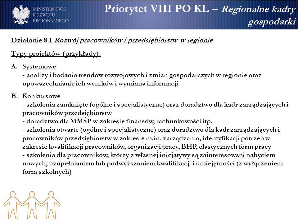 Priorytet VIII PO KL – Regionalne kadry gospodarki Działanie 8.1 Rozwój pracowników i przedsiębiorstw w regionie Typy projektów (przykłady): A.Systemowe - analizy i badania trendów rozwojowych i zmian gospodarczych w regionie oraz upowszechnianie ich wyników i wymiana informacji B.Konkursowe - szkolenia zamknięte (ogólne i specjalistyczne) oraz doradztwo dla kadr zarządzających i pracowników przedsiębiorstw - doradztwo dla MMŚP w zakresie finansów, rachunkowości itp.