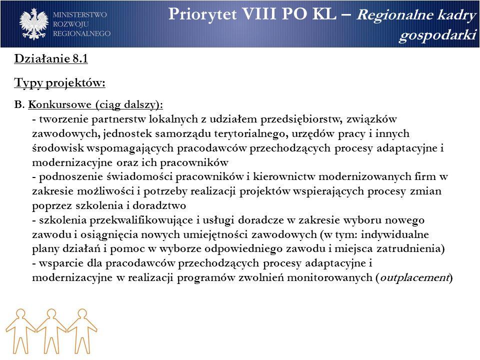 Priorytet VIII PO KL – Regionalne kadry gospodarki Działanie 8.1 Typy projektów: B. Konkursowe (ciąg dalszy): - tworzenie partnerstw lokalnych z udzia