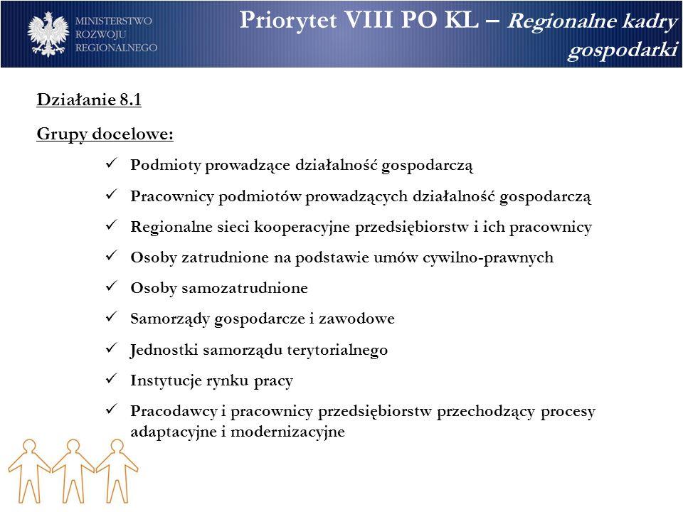 Priorytet VIII PO KL – Regionalne kadry gospodarki Działanie 8.1 Grupy docelowe: Podmioty prowadzące działalność gospodarczą Pracownicy podmiotów prow