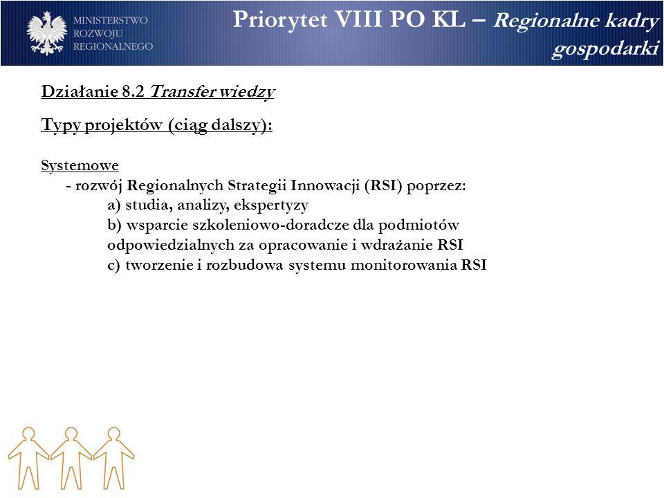 Priorytet VIII PO KL – Regionalne kadry gospodarki Działanie 8.2 Transfer wiedzy Typy projektów (ciąg dalszy): Systemowe - rozwój Regionalnych Strategii Innowacji (RSI) poprzez: a) studia, analizy, ekspertyzy b) wsparcie szkoleniowo-doradcze dla podmiotów odpowiedzialnych za opracowanie i wdrażanie RSI c) tworzenie i rozbudowa systemu monitorowania RSI
