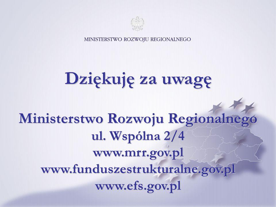Ministerstwo Rozwoju Regionalnego ul. Wspólna 2/4 www.mrr.gov.pl www.funduszestrukturalne.gov.pl www.efs.gov.pl Dziękuję za uwagę