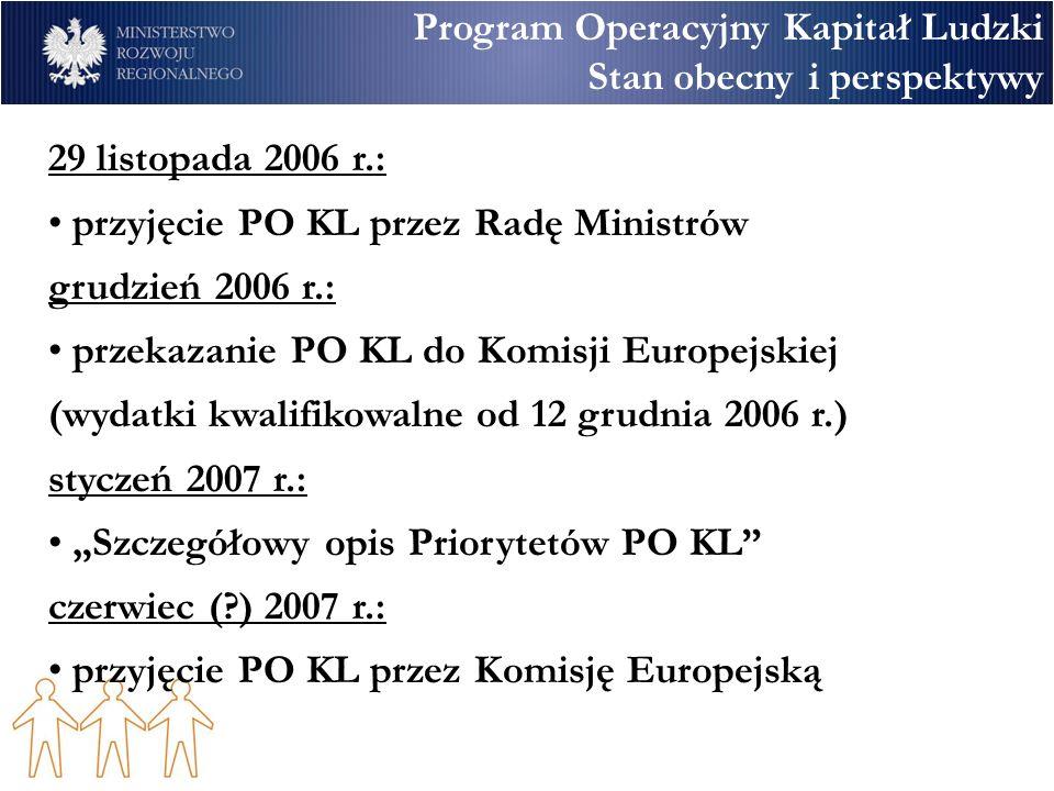 Program Operacyjny Kapitał Ludzki Stan obecny i perspektywy 29 listopada 2006 r.: przyjęcie PO KL przez Radę Ministrów grudzień 2006 r.: przekazanie PO KL do Komisji Europejskiej (wydatki kwalifikowalne od 12 grudnia 2006 r.) styczeń 2007 r.: Szczegółowy opis Priorytetów PO KL czerwiec ( ) 2007 r.: przyjęcie PO KL przez Komisję Europejską
