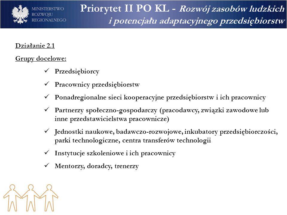 Priorytet II PO KL - Rozwój zasobów ludzkich i potencjału adaptacyjnego przedsiębiorstw Działanie 2.2 Wsparcie dla systemu adaptacyjności kadr Typy projektów: Systemowe - wsparcie i rozwój instytucji (oraz ich sieci, np.
