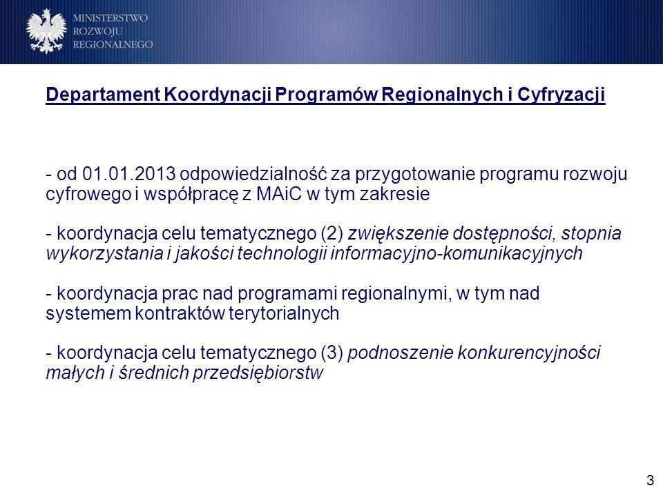 3 Departament Koordynacji Programów Regionalnych i Cyfryzacji - od 01.01.2013 odpowiedzialność za przygotowanie programu rozwoju cyfrowego i współpracę z MAiC w tym zakresie - koordynacja celu tematycznego (2) zwiększenie dostępności, stopnia wykorzystania i jakości technologii informacyjno-komunikacyjnych - koordynacja prac nad programami regionalnymi, w tym nad systemem kontraktów terytorialnych - koordynacja celu tematycznego (3) podnoszenie konkurencyjności małych i średnich przedsiębiorstw