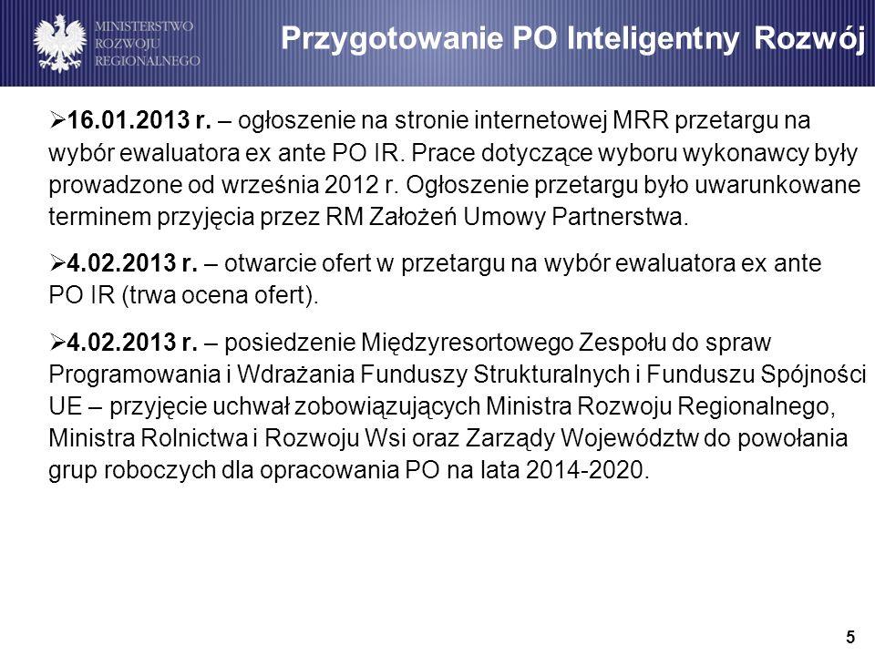 6 Przygotowanie PO Inteligentny Rozwój luty 2013 r.