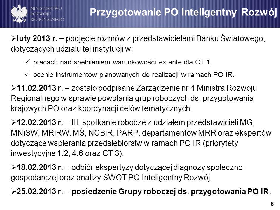 7 Przedstawienie propozycji i harmonogramu dalszych prac nad Programem Operacyjnym Inteligentny Rozwój
