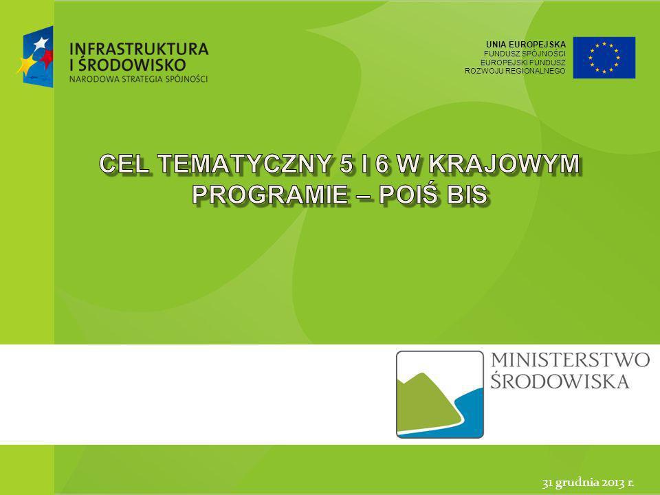 UNIA EUROPEJSKA FUNDUSZ SPÓJNOŚCI EUROPEJSKI FUNDUSZ ROZWOJU REGIONALNEGO 12 Ministerstwo Środowiska31 grudnia 2013 Legislacja MŚ a programy polityki spójności 2014-2020 DyrektywaProgramy dyrektywa 2007/60/WE ws.