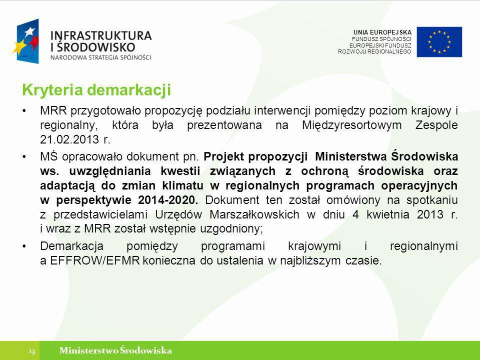 UNIA EUROPEJSKA FUNDUSZ SPÓJNOŚCI EUROPEJSKI FUNDUSZ ROZWOJU REGIONALNEGO Kryteria demarkacji MRR przygotowało propozycję podziału interwencji pomiędz
