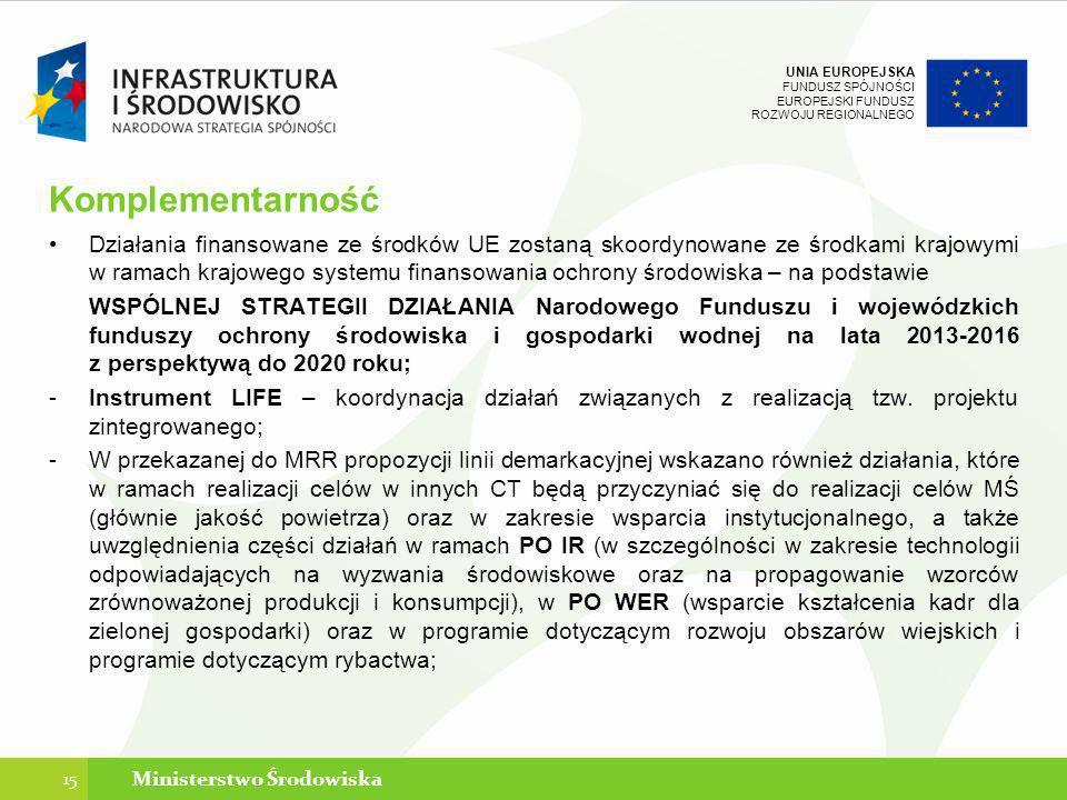 UNIA EUROPEJSKA FUNDUSZ SPÓJNOŚCI EUROPEJSKI FUNDUSZ ROZWOJU REGIONALNEGO Komplementarność Działania finansowane ze środków UE zostaną skoordynowane z