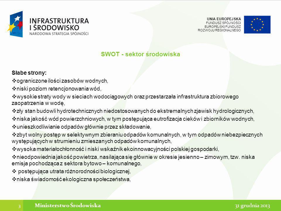 UNIA EUROPEJSKA FUNDUSZ SPÓJNOŚCI EUROPEJSKI FUNDUSZ ROZWOJU REGIONALNEGO Kryteria demarkacji - ogólne podejście Ministerstwa Środowiska Demarkacja oparta w większości przypadków na typie projektu – odejście od kwot lub też na podstawie dokumentów strategicznych: Gospodarka wodno-ściekowa – linia demarkacyjna 10 tys.