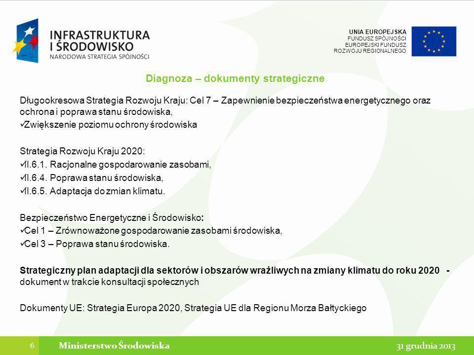 UNIA EUROPEJSKA FUNDUSZ SPÓJNOŚCI EUROPEJSKI FUNDUSZ ROZWOJU REGIONALNEGO Diagnoza – dokumenty strategiczne Długookresowa Strategia Rozwoju Kraju: Cel