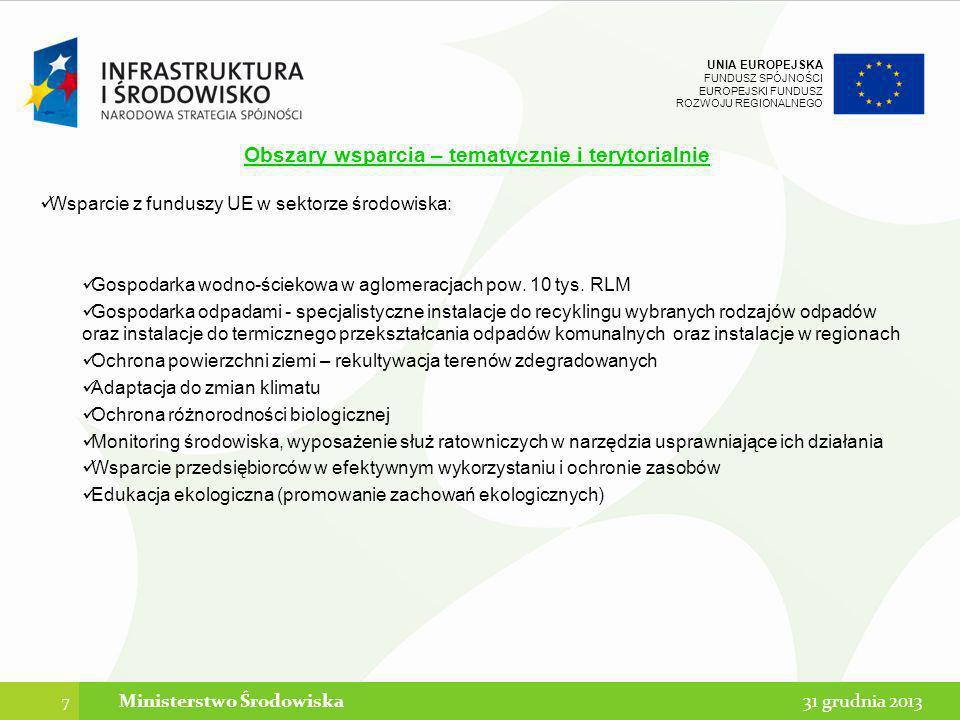UNIA EUROPEJSKA FUNDUSZ SPÓJNOŚCI EUROPEJSKI FUNDUSZ ROZWOJU REGIONALNEGO Obszary wsparcia – tematycznie i terytorialnie Biorąc pod uwagę obszary strategicznej interwencji (OSI) określone w Założeniach do Umowy Partnerstwa, projekty w ramach w CT 5 i 6 będą realizowane w następujących OSI: 8 Ministerstwo Środowiska31 grudnia 2013 A.