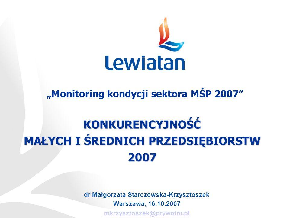 dr Małgorzata Starczewska-Krzysztoszek Warszawa, 16.10.2007 mkrzysztoszek@prywatni.plKONKURENCYJNOŚĆ MAŁYCH I ŚREDNICH PRZEDSIĘBIORSTW 2007 Monitoring