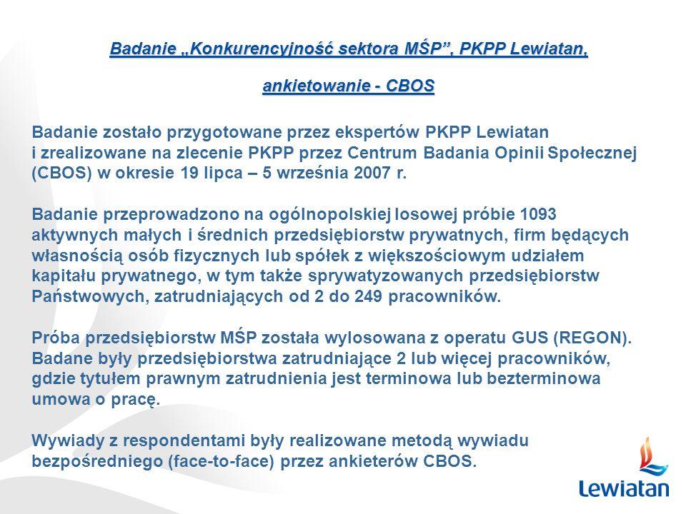 Badanie Konkurencyjność sektora MŚP, PKPP Lewiatan, ankietowanie - CBOS Badanie zostało przygotowane przez ekspertów PKPP Lewiatan i zrealizowane na z