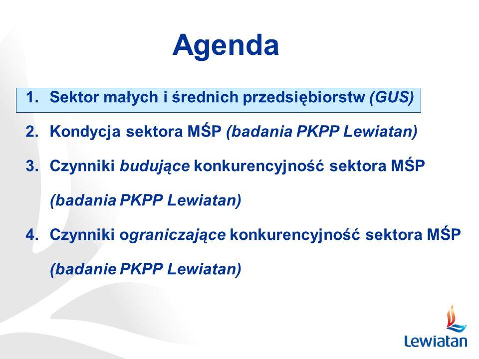 Agenda 1.Sektor małych i średnich przedsiębiorstw (GUS) 2.Kondycja sektora MŚP (badania PKPP Lewiatan) 3.Czynniki budujące konkurencyjność sektora MŚP