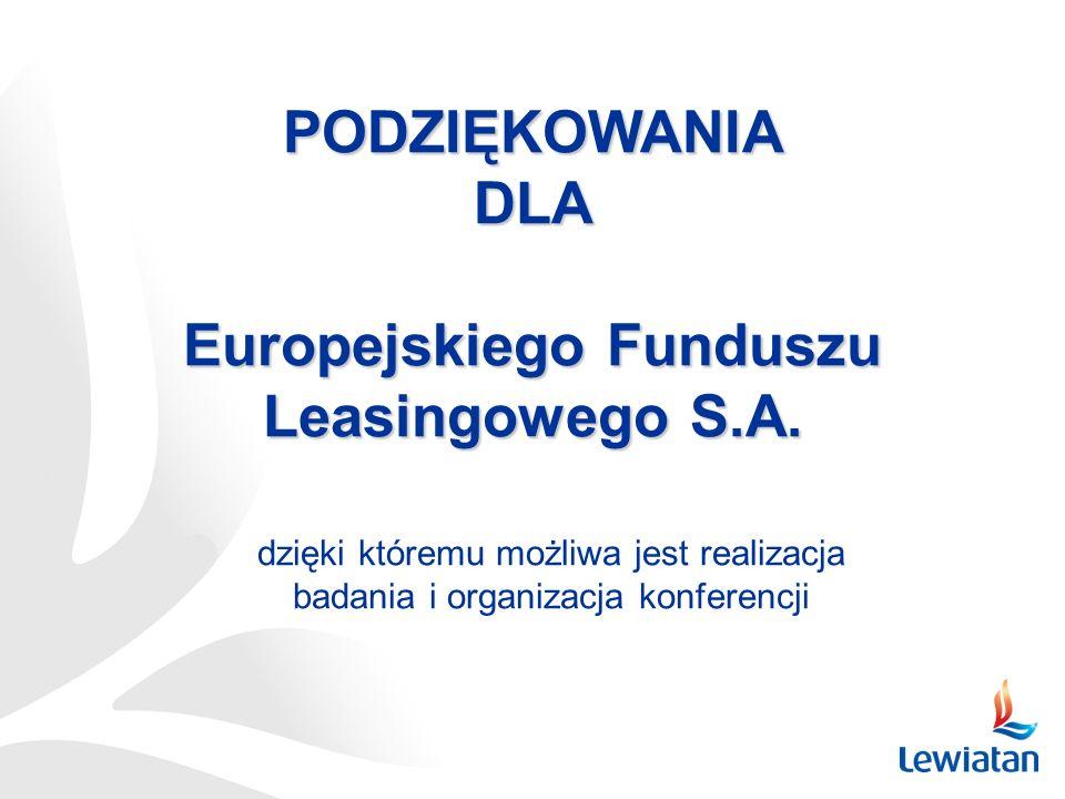 PODZIĘKOWANIADLA Europejskiego Funduszu Leasingowego S.A. dzięki któremu możliwa jest realizacja badania i organizacja konferencji