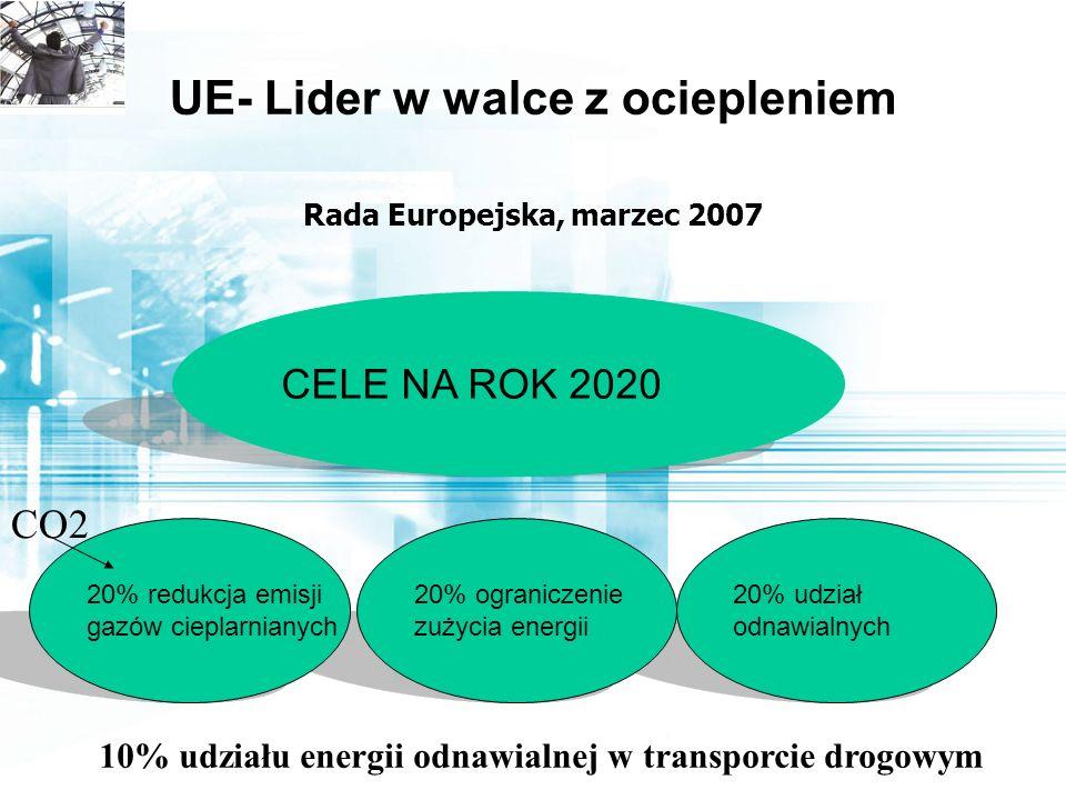 UE- Lider w walce z ociepleniem Rada Europejska, marzec 2007 20% udział odnawialnych CELE NA ROK 2020 20% ograniczenie zużycia energii 20% redukcja emisji gazów cieplarnianych CO2 10% udziału energii odnawialnej w transporcie drogowym