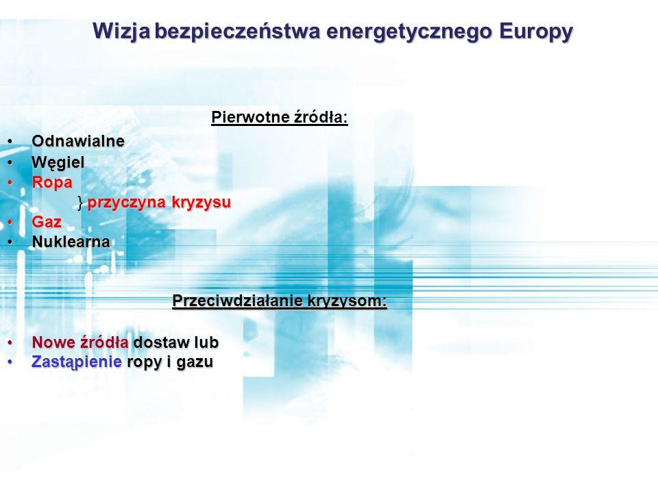 Pierwotne źródła: OdnawialneOdnawialne WęgielWęgiel RopaRopa przyczyna kryzysu } przyczyna kryzysu GazGaz NuklearnaNuklearna Przeciwdziałanie kryzysom: Nowe źródła dostaw lubNowe źródła dostaw lub Zastąpienie ropy i gazuZastąpienie ropy i gazu Wizja bezpieczeństwa energetycznego Europy