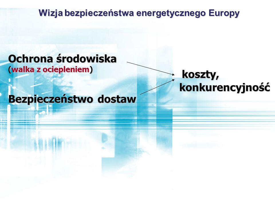 Ochrona środowiska (walka z ociepleniem) Bezpieczeństwo dostaw koszty, konkurencyjność Wizja bezpieczeństwa energetycznego Europy