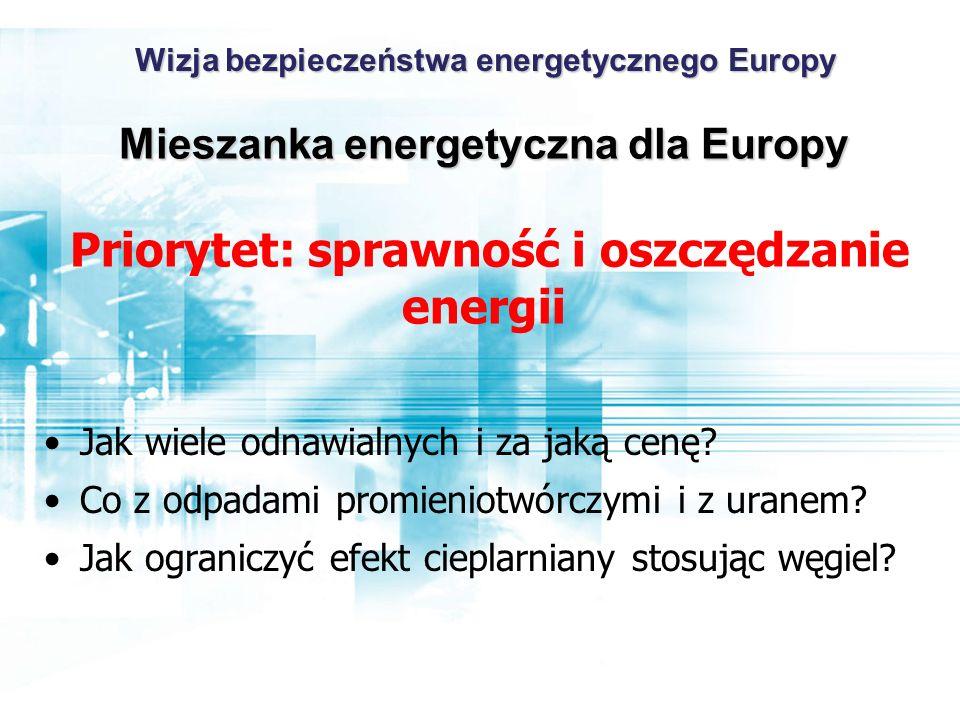 Mieszanka energetyczna dla Europy Mieszanka energetyczna dla Europy Priorytet: sprawność i oszczędzanie energii Jak wiele odnawialnych i za jaką cenę.