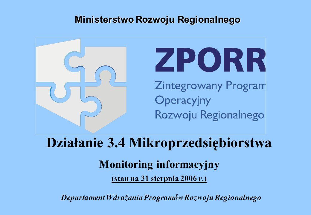 Działanie 3.4 Mikroprzedsiębiorstwa Monitoring informacyjny (stan na 31 sierpnia 2006 r.) Departament Wdrażania Programów Rozwoju Regionalnego Ministerstwo Rozwoju Regionalnego