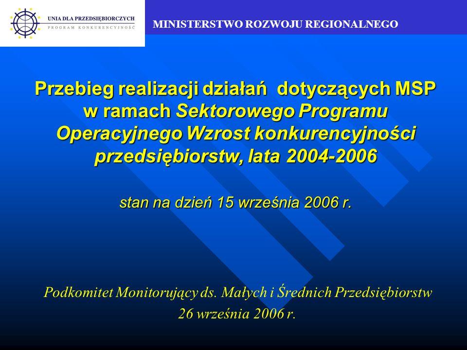MINISTERSTWO ROZWOJU REGIONALNEGO Przebieg realizacji działań dotyczących MSP w ramach Sektorowego Programu Operacyjnego Wzrost konkurencyjności przedsiębiorstw, lata 2004-2006 stan na dzień 15 września 2006 r.