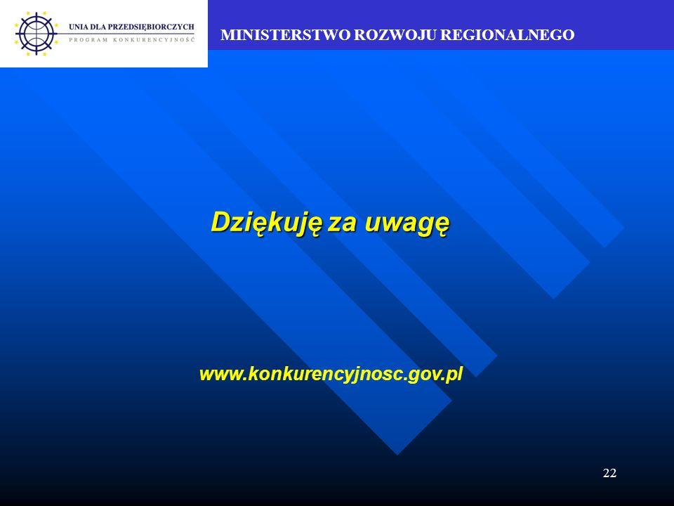 MINISTERSTWO ROZWOJU REGIONALNEGO 22 Dziękuję za uwagę www.konkurencyjnosc.gov.pl