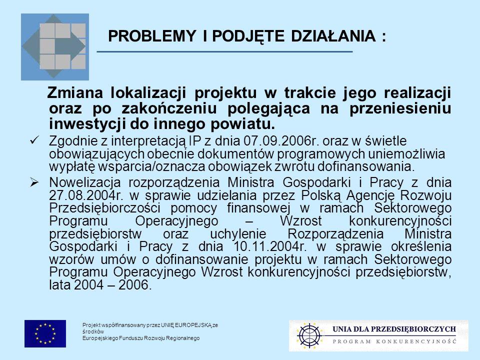 Projekt współfinansowany przez UNIĘ EUROPEJSKĄ ze środków Europejskiego Funduszu Rozwoju Regionalnego PROBLEMY I PODJĘTE DZIAŁANIA : Zmiana lokalizacji projektu w trakcie jego realizacji oraz po zakończeniu polegająca na przeniesieniu inwestycji do innego powiatu.