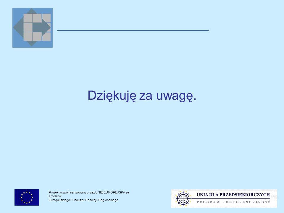 Projekt współfinansowany przez UNIĘ EUROPEJSKĄ ze środków Europejskiego Funduszu Rozwoju Regionalnego Dziękuję za uwagę.