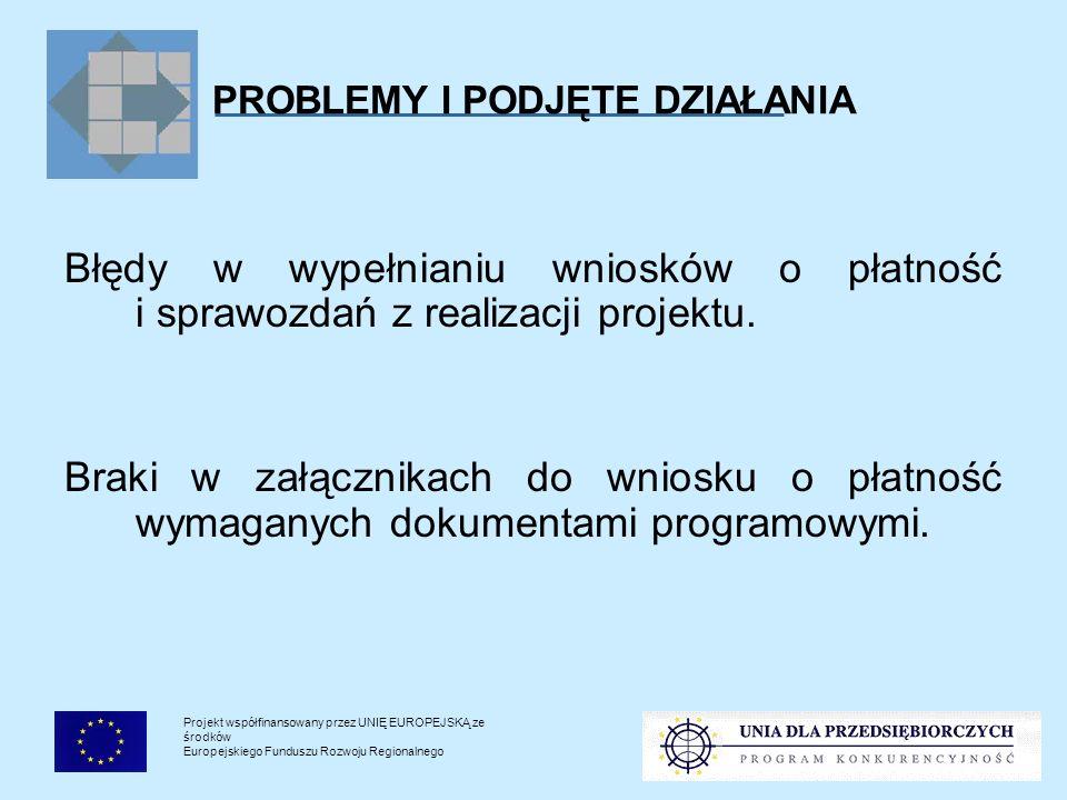 Projekt współfinansowany przez UNIĘ EUROPEJSKĄ ze środków Europejskiego Funduszu Rozwoju Regionalnego PROBLEMY I PODJĘTE DZIAŁANIA : szkolenia dla pracowników RIF-ów i Punktów Konsultacyjnych z zakresu rozliczania projektów; instrukcje do wniosku o płatność i sprawozdania z realizacji projektu oraz Pomocnicza lista sprawdzająca do wniosku o płatność na stronie internetowej PARP; Jak rozliczyć dotacje SPO WKP na doradztwo i inwestycje – poradnik Polskiej Agencji Rozwoju Przedsiębiorczości.