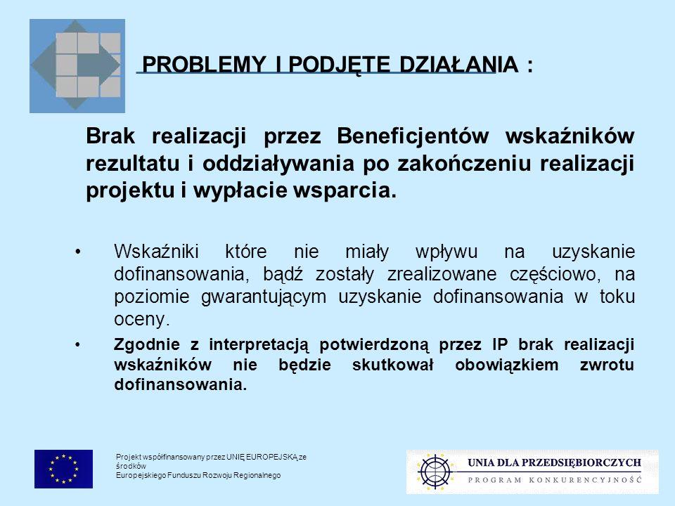 Projekt współfinansowany przez UNIĘ EUROPEJSKĄ ze środków Europejskiego Funduszu Rozwoju Regionalnego PROBLEMY I PODJĘTE DZIAŁANIA : Brak realizacji przez Beneficjentów wskaźników rezultatu i oddziaływania po zakończeniu realizacji projektu i wypłacie wsparcia.