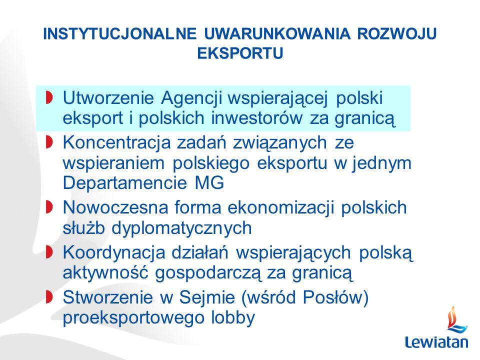 Utworzenie Agencji wspierającej polski eksport i polskich inwestorów za granicą Koncentracja zadań związanych ze wspieraniem polskiego eksportu w jedn