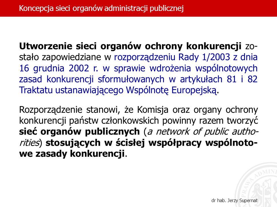 Utworzenie sieci organów ochrony konkurencji zo- stało zapowiedziane w rozporządzeniu Rady 1/2003 z dnia 16 grudnia 2002 r. w sprawie wdrożenia wspóln