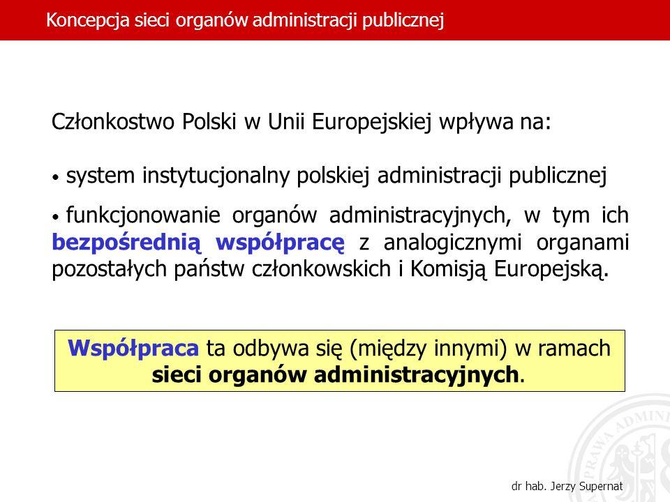 Członkostwo Polski w Unii Europejskiej wpływa na: system instytucjonalny polskiej administracji publicznej funkcjonowanie organów administracyjnych, w