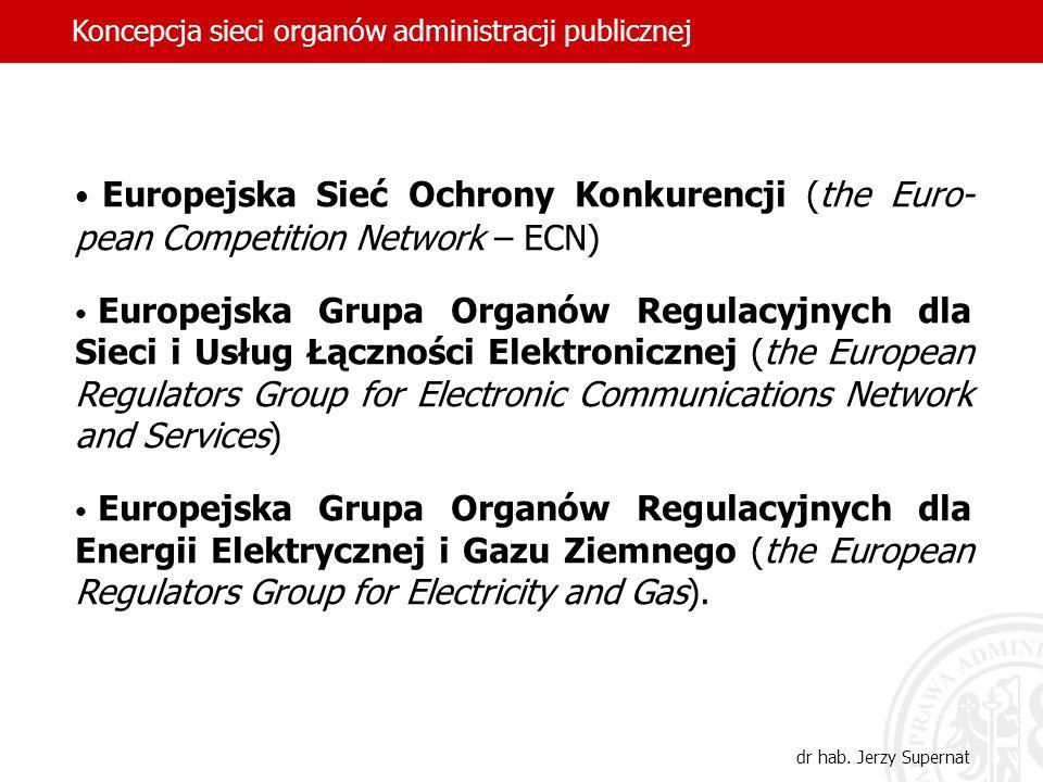 Europejska Sieć Ochrony Konkurencji (the Euro- pean Competition Network – ECN) Europejska Grupa Organów Regulacyjnych dla Sieci i Usług Łączności Elek