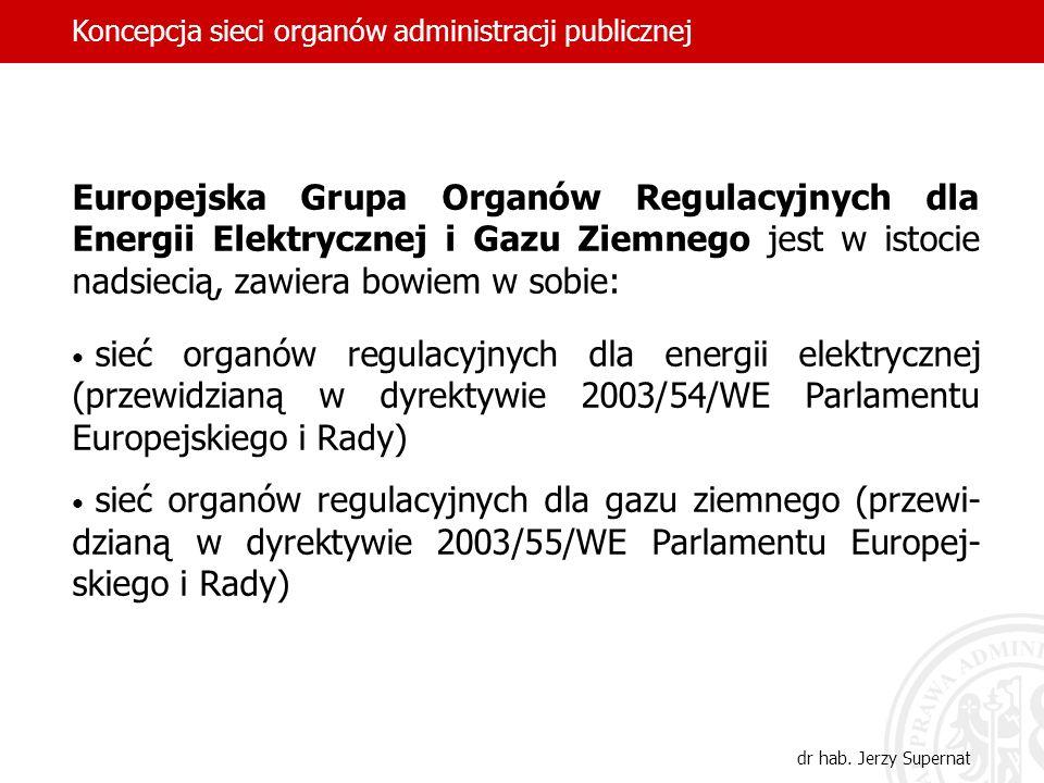 Europejska Grupa Organów Regulacyjnych dla Energii Elektrycznej i Gazu Ziemnego jest w istocie nadsiecią, zawiera bowiem w sobie: sieć organów regulac